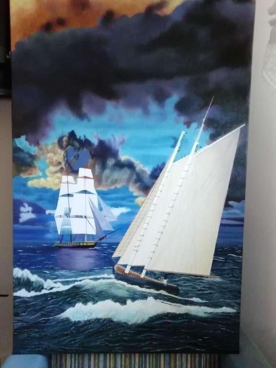 Pintura oleo marina de 90 cmx 60cm tela de grano media